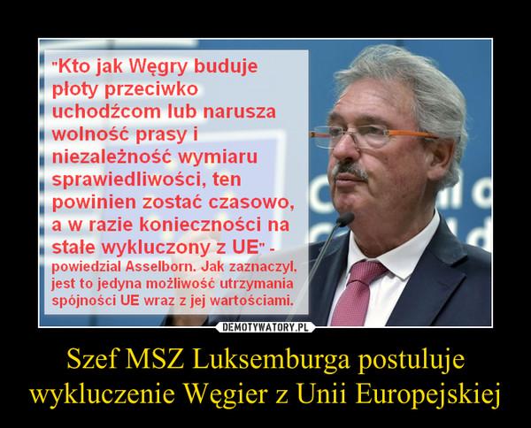 Szef MSZ Luksemburga postuluje wykluczenie Węgier z Unii Europejskiej –