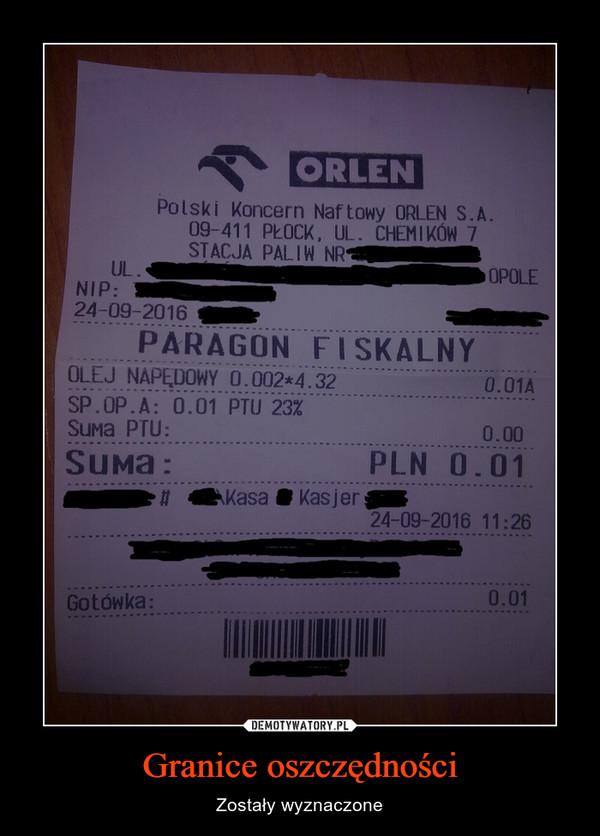 Granice oszczędności – Zostały wyznaczone ORLENParagon fiskalnyOlej napędowySuma PLN 0,01