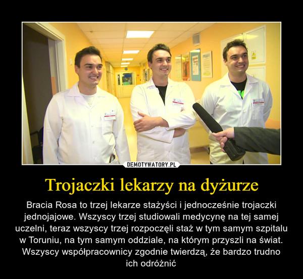 Trojaczki lekarzy na dyżurze – Bracia Rosa to trzej lekarze stażyści i jednocześnie trojaczki jednojajowe. Wszyscy trzej studiowali medycynę na tej samej uczelni, teraz wszyscy trzej rozpoczęli staż w tym samym szpitalu w Toruniu, na tym samym oddziale, na którym przyszli na świat. Wszyscy współpracownicy zgodnie twierdzą, że bardzo trudnoich odróżnić