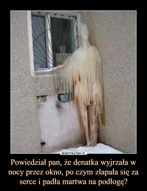 Powiedział pan, że denatka wyjrzała w nocy przez okno, po czym złapała się za serce i padła martwa na podłogę? –