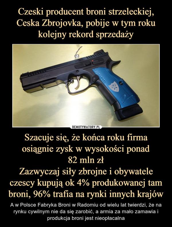 Szacuje się, że końca roku firma osiągnie zysk w wysokości ponad82 mln złZazwyczaj siły zbrojne i obywatele czescy kupują ok 4% produkowanej tam broni, 96% trafia na rynki innych krajów – A w Polsce Fabryka Broni w Radomiu od wielu lat twierdzi, że na rynku cywilnym nie da się zarobić, a armia za mało zamawia i produkcja broni jest nieopłacalna