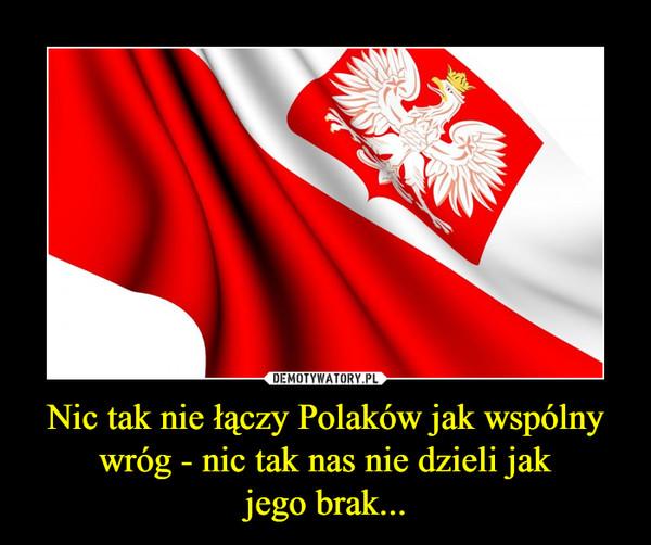 Nic tak nie łączy Polaków jak wspólny wróg - nic tak nas nie dzieli jakjego brak... –