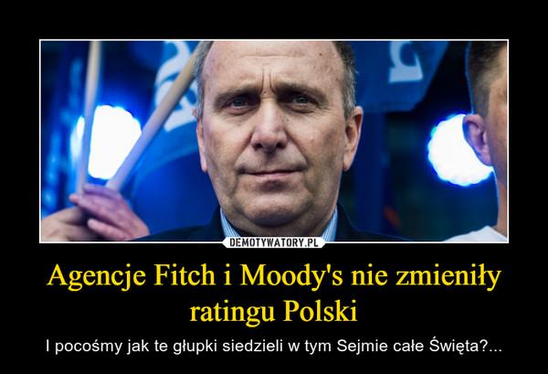 Agencje Fitch i Moody's nie zmieniły ratingu Polski – I pocośmy jak te głupki siedzieli w tym Sejmie całe Święta?...