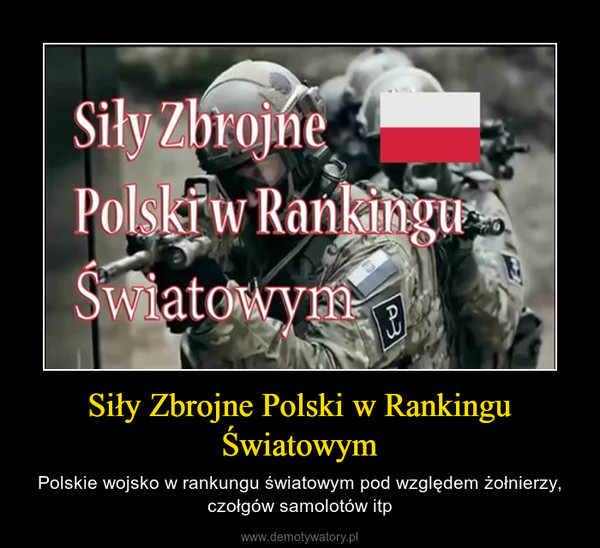 Siły Zbrojne Polski w Rankingu Światowym – Polskie wojsko w rankungu światowym pod względem żołnierzy, czołgów samolotów itp