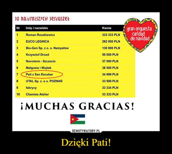 Dzięki Pati! –  Pati z San Escobar