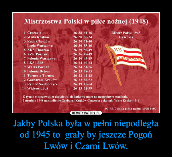Jakby Polska była w pełni niepodległa od 1945 to  grały by jeszcze Pogoń Lwów i Czarni Lwów. –