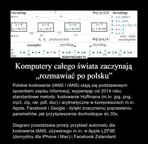 """Komputery całego świata zaczynają """"rozmawiać po polsku"""" – Polskie kodowania (tANS i rANS) stają się podstawowym sposobem zapisu informacji, wypierając od 2014 roku standardowe metody: kodowanie Huffmana (m.in. jpg, png, mp3, zip, rar, pdf, doc) i arytmetyczne w kompresorach m.in. Apple, Facebook i Google - dzięki znacznemu poprawieniu parametrów, jak przyśpieszenie dochodzące do 30x.Diagram przedstawia prosty przykład automatu dla kodowania tANS, używanego m.in. w Apple LZFSE (domyślny dla iPhone i Mac) i Facebook Zstandard."""