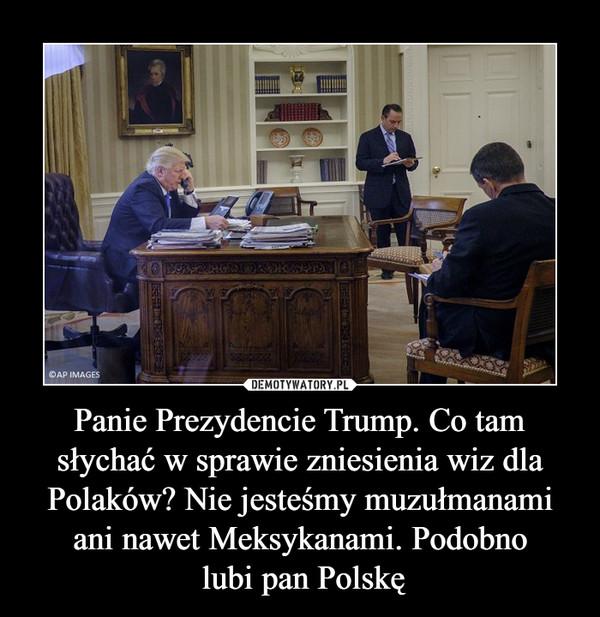 Panie Prezydencie Trump. Co tam słychać w sprawie zniesienia wiz dla Polaków? Nie jesteśmy muzułmanami ani nawet Meksykanami. Podobno lubi pan Polskę –