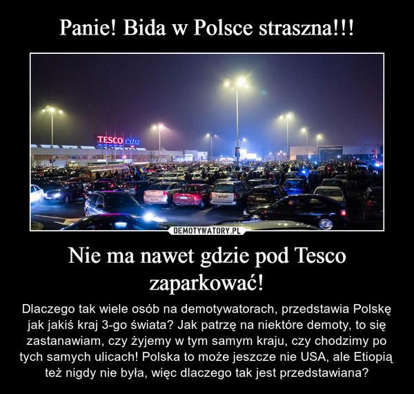 Nie ma nawet gdzie pod Tesco zaparkować! – Dlaczego tak wiele osób na demotywatorach, przedstawia Polskę jak jakiś kraj 3-go świata? Jak patrzę na niektóre demoty, to się zastanawiam, czy żyjemy w tym samym kraju, czy chodzimy po tych samych ulicach! Polska to może jeszcze nie USA, ale Etiopią też nigdy nie była, więc dlaczego tak jest przedstawiana?