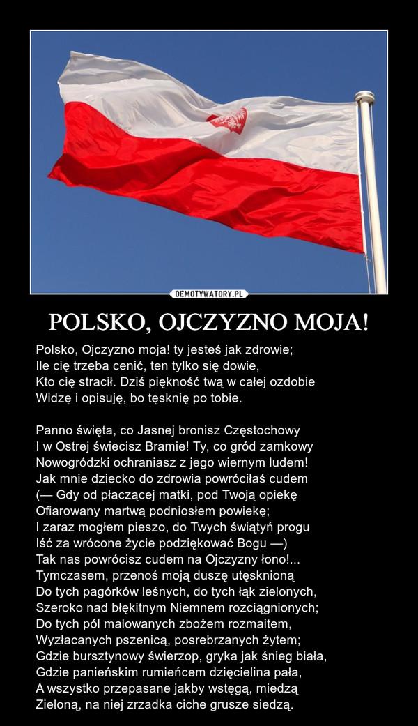 POLSKO, OJCZYZNO MOJA! – Polsko, Ojczyzno moja! ty jesteś jak zdrowie;Ile cię trzeba cenić, ten tylko się dowie,Kto cię stracił. Dziś piękność twą w całej ozdobieWidzę i opisuję, bo tęsknię po tobie.Panno święta, co Jasnej bronisz CzęstochowyI w Ostrej świecisz Bramie! Ty, co gród zamkowyNowogródzki ochraniasz z jego wiernym ludem!Jak mnie dziecko do zdrowia powróciłaś cudem(— Gdy od płaczącej matki, pod Twoją opiekęOfiarowany martwą podniosłem powiekę;I zaraz mogłem pieszo, do Twych świątyń proguIść za wrócone życie podziękować Bogu —)Tak nas powrócisz cudem na Ojczyzny łono!...Tymczasem, przenoś moją duszę utęsknionąDo tych pagórków leśnych, do tych łąk zielonych,Szeroko nad błękitnym Niemnem rozciągnionych;Do tych pól malowanych zbożem rozmaitem,Wyzłacanych pszenicą, posrebrzanych żytem;Gdzie bursztynowy świerzop, gryka jak śnieg biała,Gdzie panieńskim rumieńcem dzięcielina pała,A wszystko przepasane jakby wstęgą, miedząZieloną, na niej zrzadka ciche grusze siedzą.