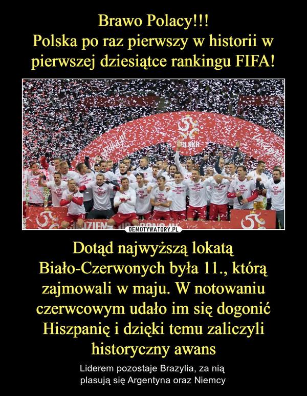 Dotąd najwyższą lokatą Biało-Czerwonych była 11., którą zajmowali w maju. W notowaniu czerwcowym udało im się dogonić Hiszpanię i dzięki temu zaliczyli historyczny awans – Liderem pozostaje Brazylia, za nią plasują się Argentyna oraz Niemcy