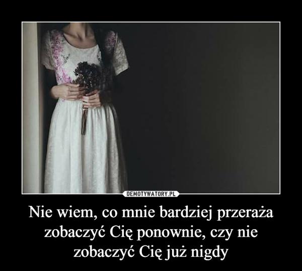 Nie wiem, co mnie bardziej przeraża zobaczyć Cię ponownie, czy nie zobaczyć Cię już nigdy –