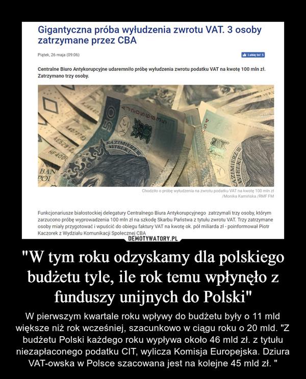 """""""W tym roku odzyskamy dla polskiego budżetu tyle, ile rok temu wpłynęło z funduszy unijnych do Polski"""" – W pierwszym kwartale roku wpływy do budżetu były o 11 mld większe niż rok wcześniej, szacunkowo w ciągu roku o 20 mld. """"Z budżetu Polski każdego roku wypływa około 46 mld zł. z tytułu niezapłaconego podatku CIT, wylicza Komisja Europejska. Dziura VAT-owska w Polsce szacowana jest na kolejne 45 mld zł. """""""