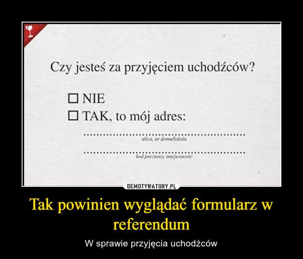 Tak powinien wyglądać formularz w referendum – W sprawie przyjęcia uchodźców