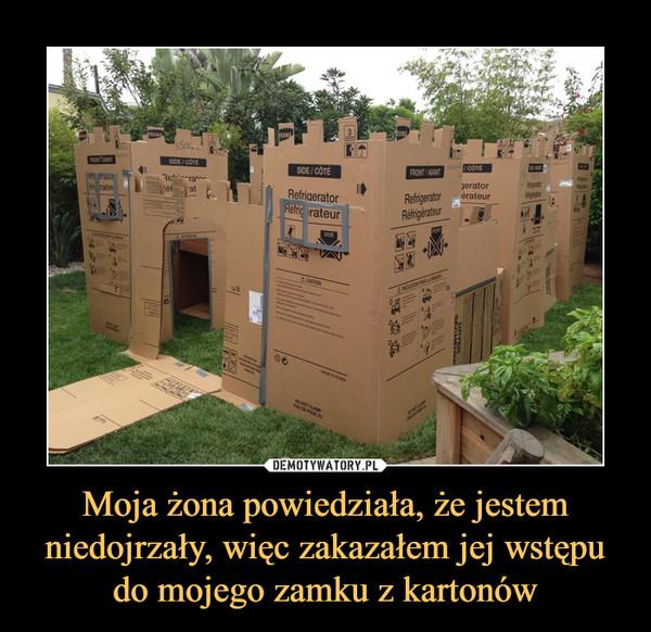 Moja żona powiedziała, że jestem niedojrzały, więc zakazałem jej wstępu do mojego zamku z kartonów –