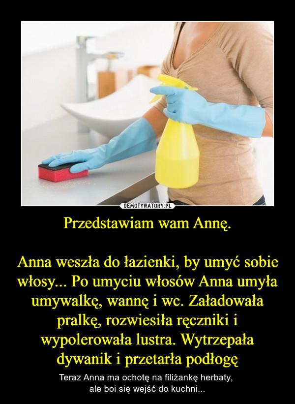 Przedstawiam wam Annę.Anna weszła do łazienki, by umyć sobie włosy... Po umyciu włosów Anna umyła umywalkę, wannę i wc. Załadowała pralkę, rozwiesiła ręczniki i wypolerowała lustra. Wytrzepała dywanik i przetarła podłogę – Teraz Anna ma ochotę na filiżankę herbaty, ale boi się wejść do kuchni...