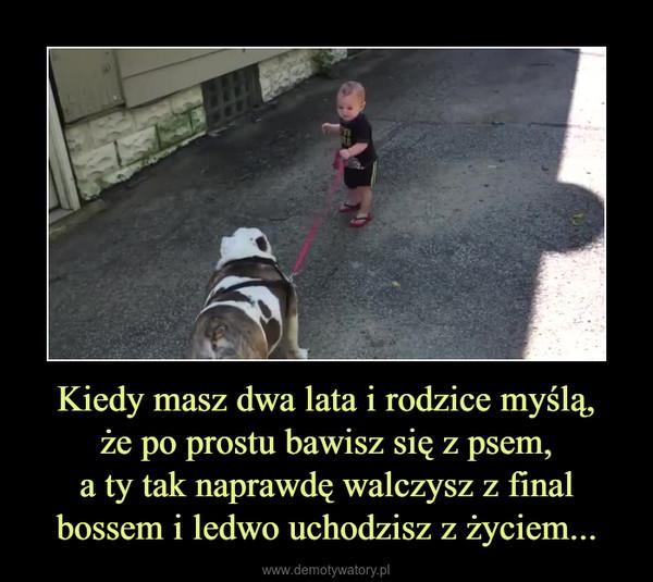 Kiedy masz dwa lata i rodzice myślą,że po prostu bawisz się z psem,a ty tak naprawdę walczysz z final bossem i ledwo uchodzisz z życiem... –