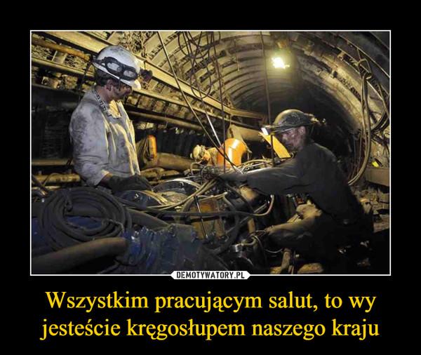 Wszystkim pracującym salut, to wy jesteście kręgosłupem naszego kraju –