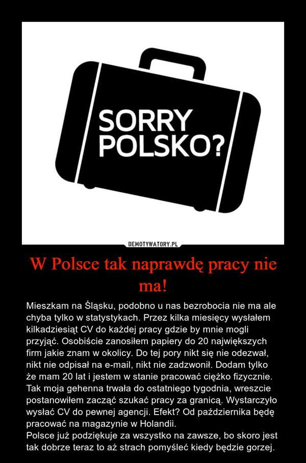 W Polsce tak naprawdę pracy nie ma! – Mieszkam na Śląsku, podobno u nas bezrobocia nie ma ale chyba tylko w statystykach. Przez kilka miesięcy wysłałem kilkadziesiąt CV do każdej pracy gdzie by mnie mogli przyjąć. Osobiście zanosiłem papiery do 20 największych firm jakie znam w okolicy. Do tej pory nikt się nie odezwał, nikt nie odpisał na e-mail, nikt nie zadzwonił. Dodam tylko że mam 20 lat i jestem w stanie pracować ciężko fizycznie. Tak moja gehenna trwała do ostatniego tygodnia, wreszcie postanowiłem zacząć szukać pracy za granicą. Wystarczyło wysłać CV do pewnej agencji. Efekt? Od października będę pracować na magazynie w Holandii.Polsce już podziękuje za wszystko na zawsze, bo skoro jest tak dobrze teraz to aż strach pomyśleć kiedy będzie gorzej.