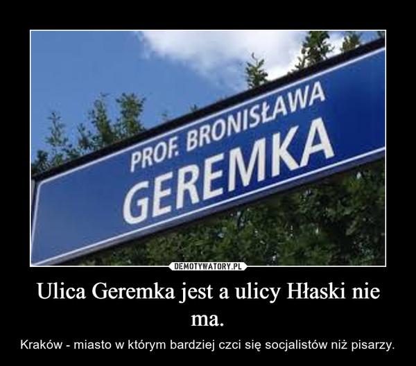 Ulica Geremka jest a ulicy Hłaski nie ma. – Kraków - miasto w którym bardziej czci się socjalistów niż pisarzy.