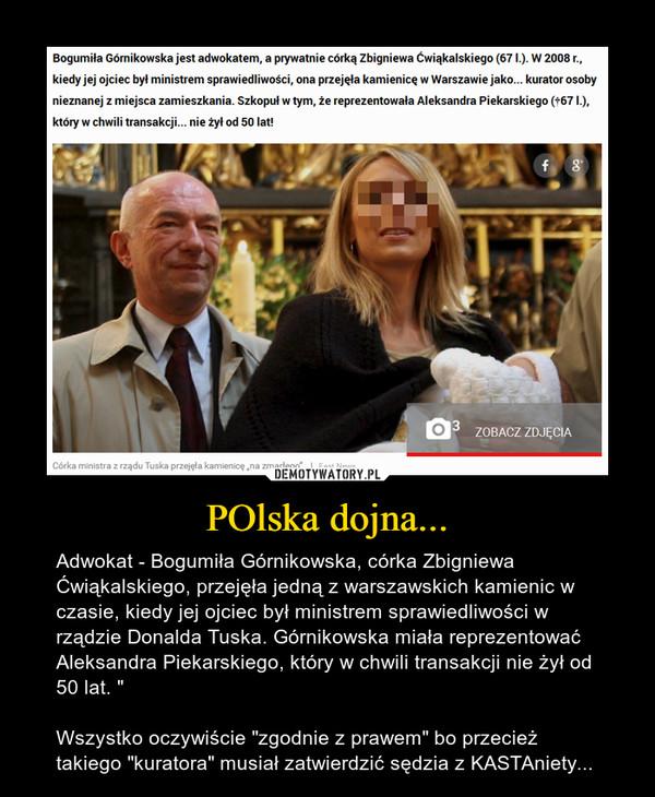 """POlska dojna... – Adwokat - Bogumiła Górnikowska, córka Zbigniewa Ćwiąkalskiego, przejęła jedną z warszawskich kamienic w czasie, kiedy jej ojciec był ministrem sprawiedliwości w rządzie Donalda Tuska. Górnikowska miała reprezentować Aleksandra Piekarskiego, który w chwili transakcji nie żył od 50 lat. """"Wszystko oczywiście """"zgodnie z prawem"""" bo przecież takiego """"kuratora"""" musiał zatwierdzić sędzia z KASTAniety..."""