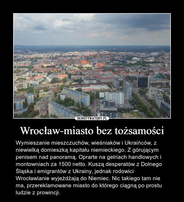 Wrocław-miasto bez tożsamości – Wymieszanie mieszczuchów, wieśniaków i Ukraińców, z niewielką domieszką kapitału niemieckiego. Z górującym penisem nad panoramą. Oprarte na gelriach handlowych i montowniach za 1500 netto. Kuszą desperatów z Dolnego Śląska i emigrantów z Ukrainy, jednak rodowici Wrocławianie wyjeżdżają do Niemiec. Nic takiego tam nie ma, przereklamowane miasto do którego ciągną po prostu ludzie z prowincji.
