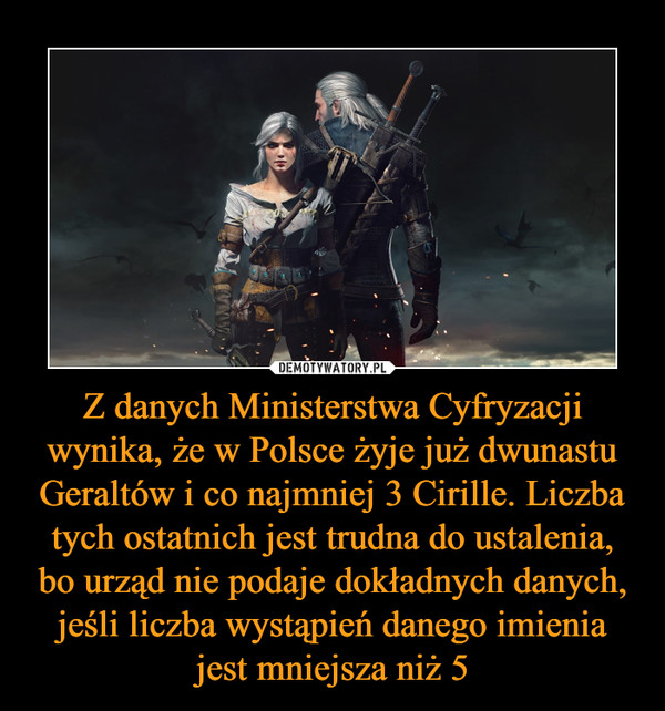 Z danych Ministerstwa Cyfryzacji wynika, że w Polsce żyje już dwunastu Geraltów i co najmniej 3 Cirille. Liczba tych ostatnich jest trudna do ustalenia, bo urząd nie podaje dokładnych danych, jeśli liczba wystąpień danego imienia jest mniejsza niż 5 –