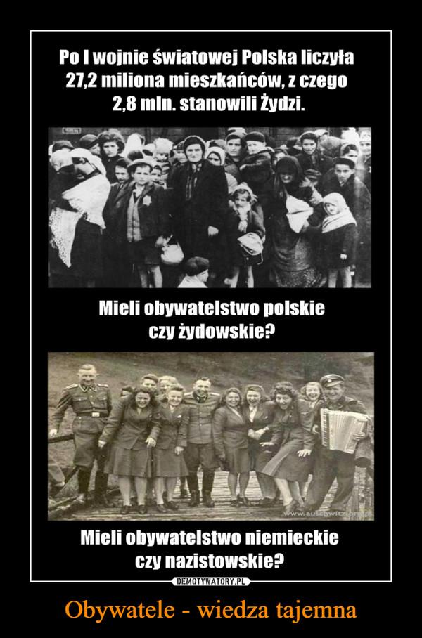 Obywatele - wiedza tajemna –  Po I wojnie światowej Polska liczyła 27,2 miliona mieszkańców, z czego 2,8 mln. stanowili Żydzi. Mieli obywatelstwo polskie czy żydowskie? Mieli obywatelstwo niemieckie czy nazistowskie?