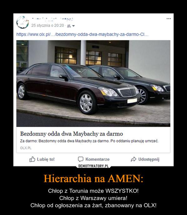 Hierarchia na AMEN: – Chłop z Torunia może WSZYSTKO!Chłop z Warszawy umiera!Chłop od ogłoszenia za żart, zbanowany na OLX!