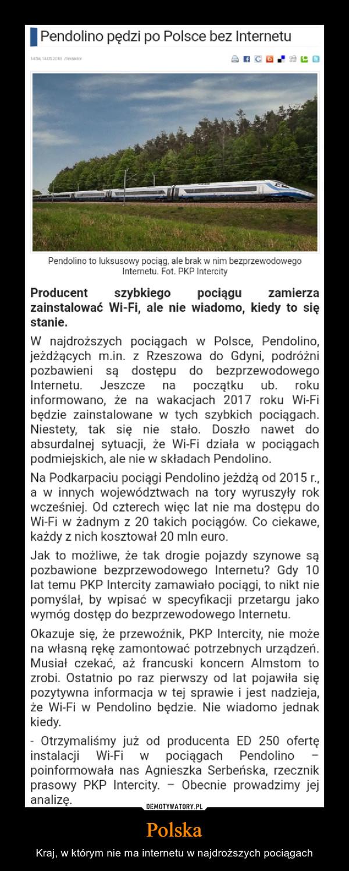 Polska – Kraj, w którym nie ma internetu w najdroższych pociągach