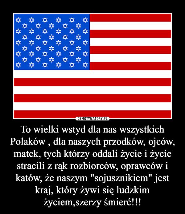"""To wielki wstyd dla nas wszystkich Polaków , dla naszych przodków, ojców, matek, tych którzy oddali życie i życie stracili z rąk rozbiorców, oprawców i katów, że naszym """"sojusznikiem"""" jest kraj, który żywi się ludzkim życiem,szerzy śmierć!!! –"""