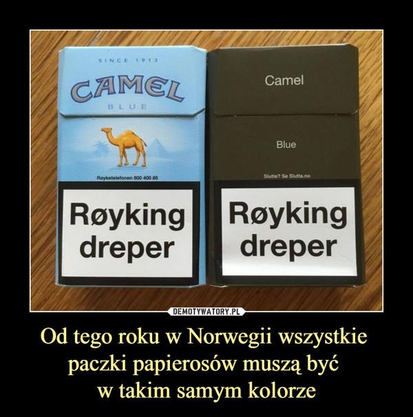 Od tego roku w Norwegii wszystkie paczki papierosów muszą być w takim samym kolorze –  CAMEL Royking dreper