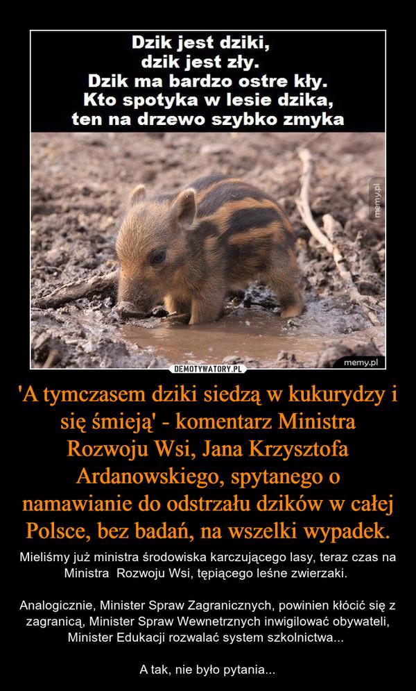 'A tymczasem dziki siedzą w kukurydzy i się śmieją' - komentarz Ministra Rozwoju Wsi, Jana Krzysztofa Ardanowskiego, spytanego o namawianie do odstrzału dzików w całej Polsce, bez badań, na wszelki wypadek. – Mieliśmy już ministra środowiska karczującego lasy, teraz czas na Ministra  Rozwoju Wsi, tępiącego leśne zwierzaki. Analogicznie, Minister Spraw Zagranicznych, powinien kłócić się z zagranicą, Minister Spraw Wewnetrznych inwigilować obywateli, Minister Edukacji rozwalać system szkolnictwa... A tak, nie było pytania...