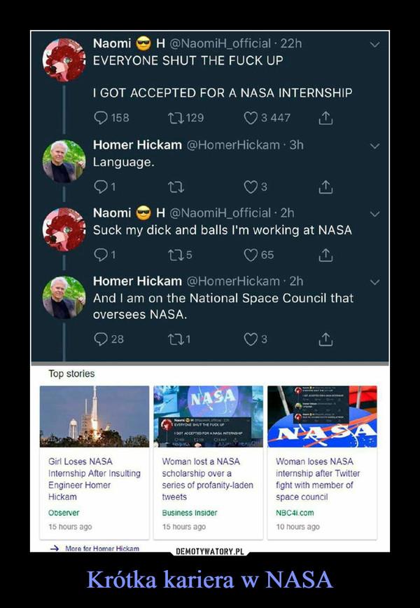 Krótka kariera w NASA –