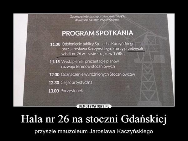 Hala nr 26 na stoczni Gdańskiej – przyszłe mauzoleum Jarosława Kaczyńskiego