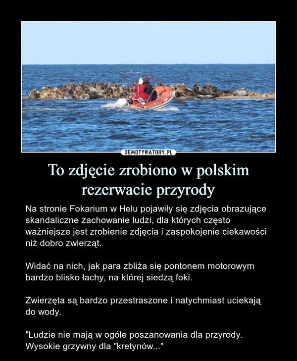 """To zdjęcie zrobiono w polskim rezerwacie przyrody – Na stronie Fokarium w Helu pojawiły się zdjęcia obrazujące skandaliczne zachowanie ludzi, dla których często ważniejsze jest zrobienie zdjęcia i zaspokojenie ciekawości niż dobro zwierząt.Widać na nich, jak para zbliża się pontonem motorowym bardzo blisko łachy, na której siedzą foki.Zwierzęta są bardzo przestraszone i natychmiast uciekają do wody.""""Ludzie nie mają w ogóle poszanowania dla przyrody. Wysokie grzywny dla """"kretynów..."""""""