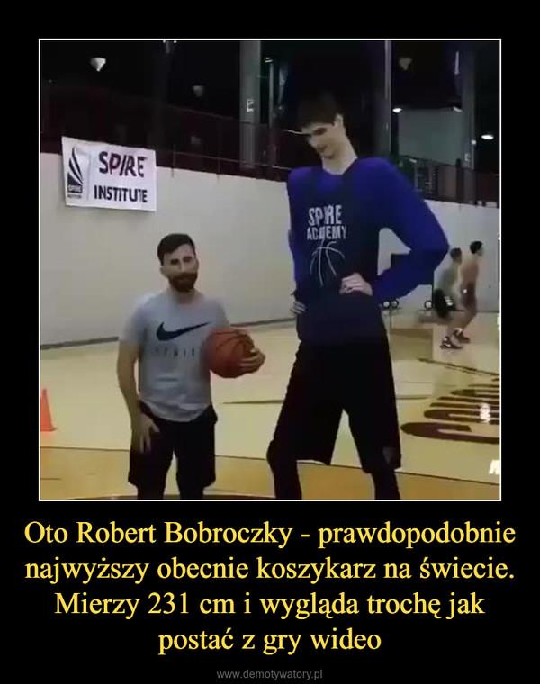 Oto Robert Bobroczky - prawdopodobnie najwyższy obecnie koszykarz na świecie. Mierzy 231 cm i wygląda trochę jak postać z gry wideo –