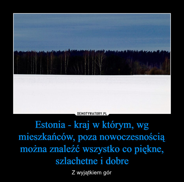 Estonia - kraj w którym, wg mieszkańców, poza nowoczesnością można znaleźć wszystko co piękne, szlachetne i dobre – Z wyjątkiem gór