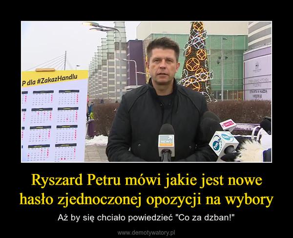 """Ryszard Petru mówi jakie jest nowe hasło zjednoczonej opozycji na wybory – Aż by się chciało powiedzieć """"Co za dzban!"""""""