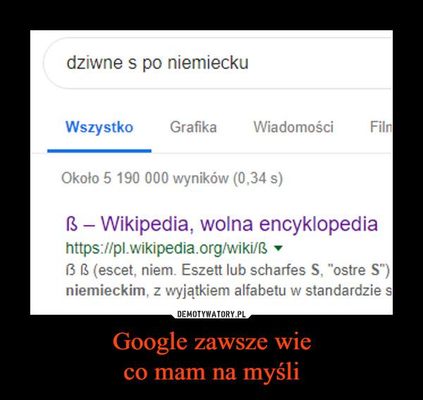 Google zawsze wieco mam na myśli –