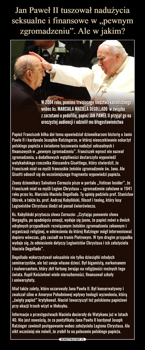 """Jan Paweł II tuszował nadużycia seksualne i finansowe w """"pewnym zgromadzeniu"""". Ale w jakim?"""