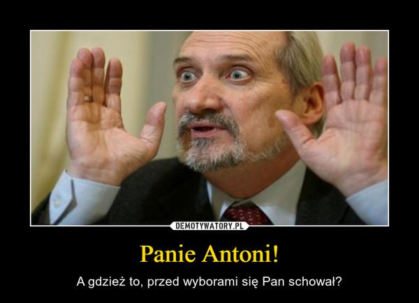Panie Antoni! – A gdzież to, przed wyborami się Pan schował?