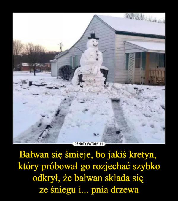Bałwan się śmieje, bo jakiś kretyn, który próbował go rozjechać szybko odkrył, że bałwan składa się ze śniegu i... pnia drzewa –
