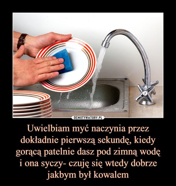 Uwielbiam myć naczynia przez dokładnie pierwszą sekundę, kiedy gorącą patelnie dasz pod zimną wodęi ona syczy- czuję się wtedy dobrze jakbym był kowalem –