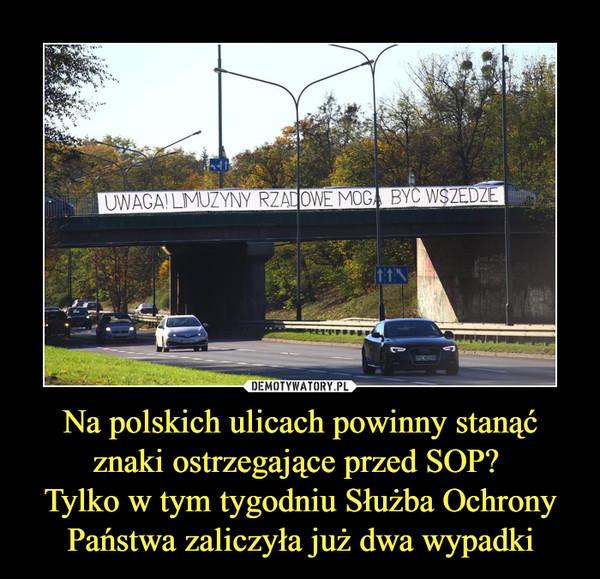 Na polskich ulicach powinny stanąć znaki ostrzegające przed SOP? Tylko w tym tygodniu Służba Ochrony Państwa zaliczyła już dwa wypadki –
