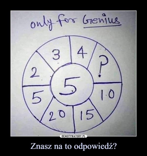 Znasz na to odpowiedź? –