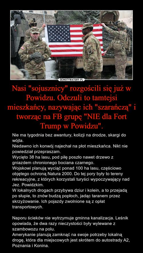 """Nasi """"sojusznicy"""" rozgościli się już w Powidzu. Odczuli to tamtejsi mieszkańcy, nazywając ich """"szarańczą"""" i tworząc na FB grupę """"NIE dla Fort Trump w Powidzu""""."""