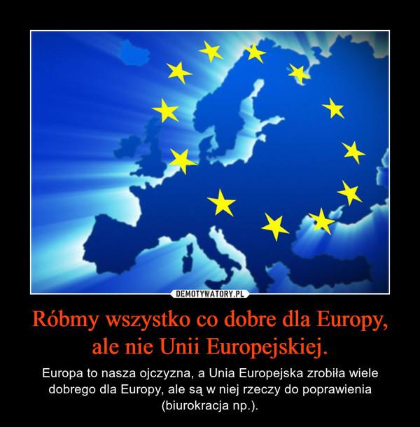 Róbmy wszystko co dobre dla Europy, ale nie Unii Europejskiej. – Europa to nasza ojczyzna, a Unia Europejska zrobiła wiele dobrego dla Europy, ale są w niej rzeczy do poprawienia (biurokracja np.).