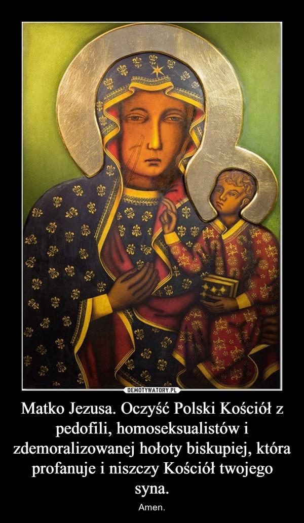 Matko Jezusa. Oczyść Polski Kościół z pedofili, homoseksualistów i zdemoralizowanej hołoty biskupiej, która profanuje i niszczy Kościół twojego syna. – Amen.
