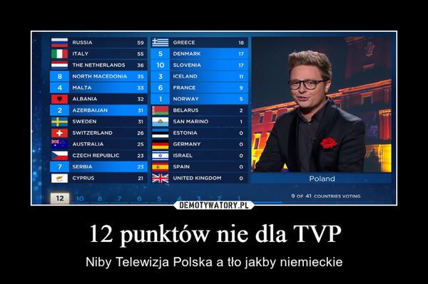 12 punktów nie dla TVP – Niby Telewizja Polska a tło jakby niemieckie